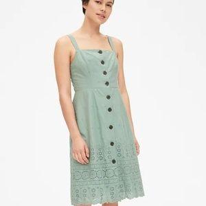 Gap Eyelet Embroidered Apron Dress (Sage Green)